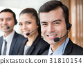 Smiling call center (or telemarketer) team 31810154