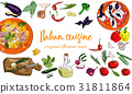 Hand drawn Italian cuisine background with dishes  31811864