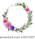 Flower circle round wreath flowers pink Rose 31813567