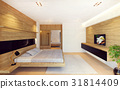 Modern bedroom interior in wood decoration 31814409