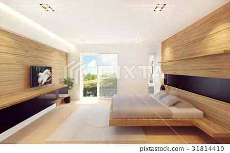 Modern bedroom interior in wood decoration 31814410
