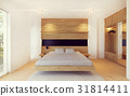Modern bedroom interior in wood decoration 31814411