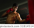 boxer punch at the target on boxing ring in gym 31814514