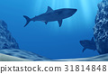 Flock of sharks underwater with sun rays and stone 31814848