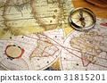 Vintage map and vintage compass 31815201