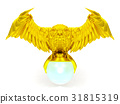 Golden owl figure and magical ball isolated  31815319