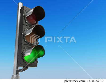 Traffic light with green color on blue sky  31818730