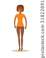 Full-length portrait of Afro beautiful young girl. 31822691