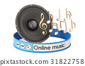 Online Music concept with loudspeaker and notes 31822758