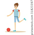 Young soccer player kicking a ball 31823397