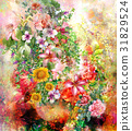 Abstract colorful flowers watercolor painting 31829524