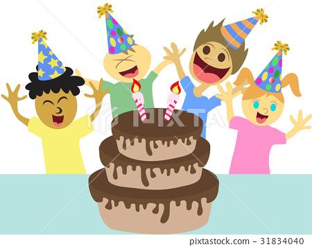 cartoon kids happy birthday party 31834040