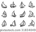 black sailboat outline icons 31834049