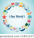 Sea icons and symbols set. Sea animals. Nautical 31841247