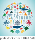 Sea icons and symbols set. Sea animals. Nautical 31841248