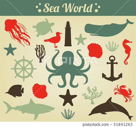 Sea icons and symbols set. Sea animals. Nautical 31841263