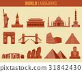 World landmarks flat icon set. Travel and Tourism 31842430