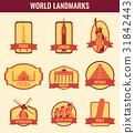 World landmarks flat icon set. Travel and Tourism 31842443