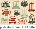 World landmarks flat icon set. Travel and Tourism 31842462