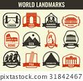 World landmarks flat icon set. Travel and Tourism 31842467
