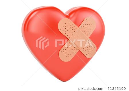 Broken heart with adhesive plaster, 3D rendering 31843190