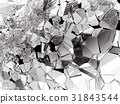 Damaged or broken glass on white 31843544