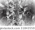 Pieces of Broken or Shattered glass on black 31843550