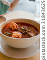 Thai food, Red sour soup with shrimp 31843625