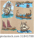 Boats. An hand drawn colored vector pack.Line art. 31843788