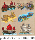 Boats. An hand drawn colored vector pack.Line art. 31843789
