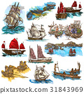 An hand drawn full sized collection, pack of Boats 31843969