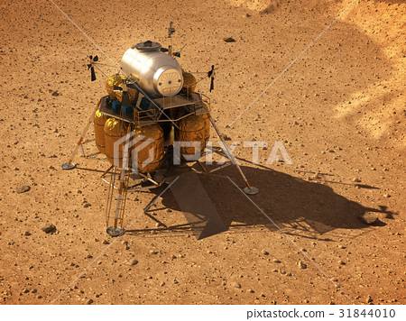 Descent Module On Surface Of Planet Mars 31844010
