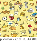 Morning breakfast doodle colored vector pattern. 31844308