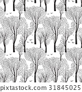 Nature tiled pattern Forest background Trees, bird 31845025
