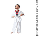 Happy Asian little girl laugh and tie a white line 31847420