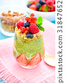 Matcha and Chia Seed Pudding with Fresh Berries 31847652