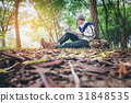 ASEAN traveler man with backpack  in forest 31848535