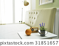 오렌지,라디오,물뿌리개,꽃,침대 31851657