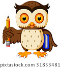 owl carrying book and pencil 31853481