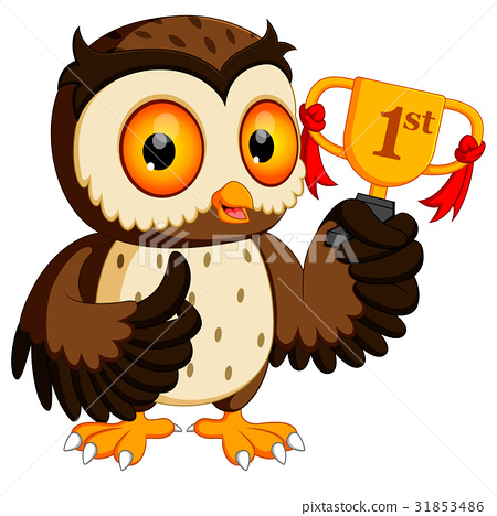 owl holding championship trophy 31853486