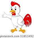 Cute rooster cartoon presenting 31853492