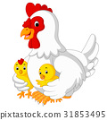 Mother hen with its baby chicks 31853495