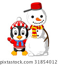 Cute penguin and snowman 31854012
