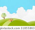 작은 언덕을 달리는 빈티지 자동차 (종이의 질감 세트) 31855863