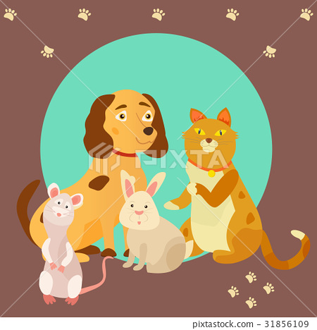 Bright images of domestic animals cat, rat, dog 31856109