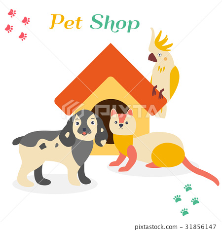 Bright images of domestic animals parrot, dog and 31856147