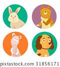 Bright images of domestic animals cat, rabbit, dog 31856171