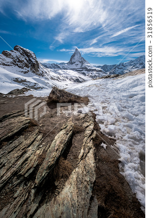 Scenic view on snowy Matterhorn peak 31856519