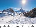 Sun behind Matterhorn 31856560