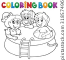 Coloring book pool and kids 31857496